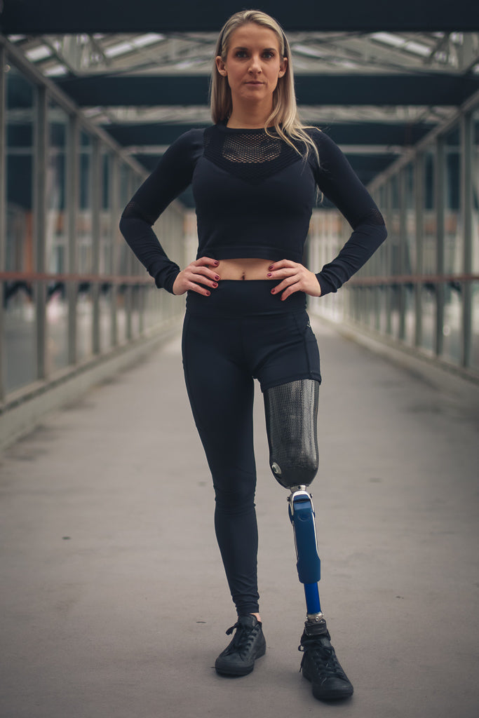 Kirstie Ennis right leg above the knee amputee leggings at CNC.