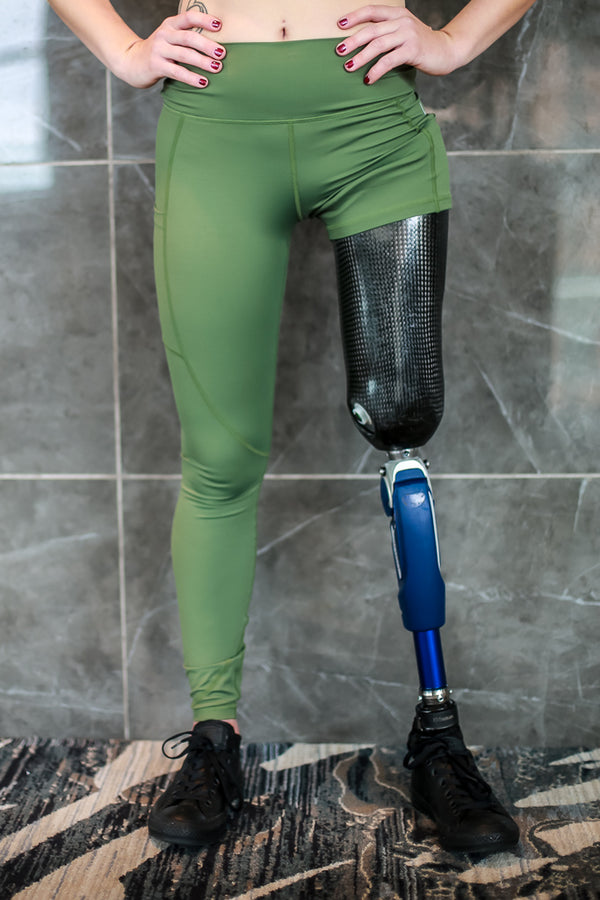 Amputee - LEFT Leg Above the knee, Military Green Leggings with pockets