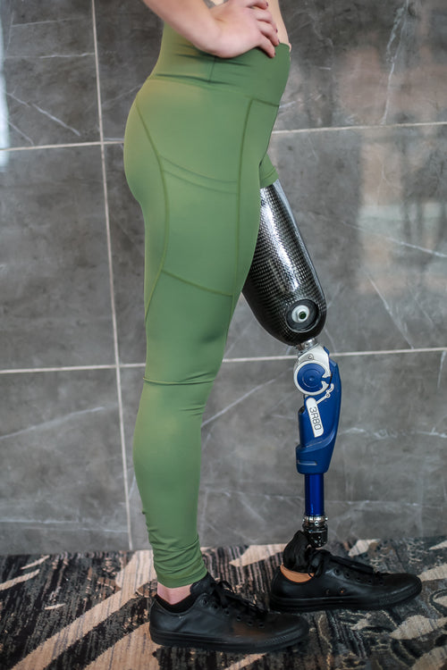 Amputee - RIGHT Leg Above the knee, Military Green Leggings with pockets