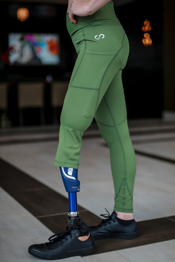 Amputee - RIGHT Leg Below the knee, Military Green Leggings with pockets