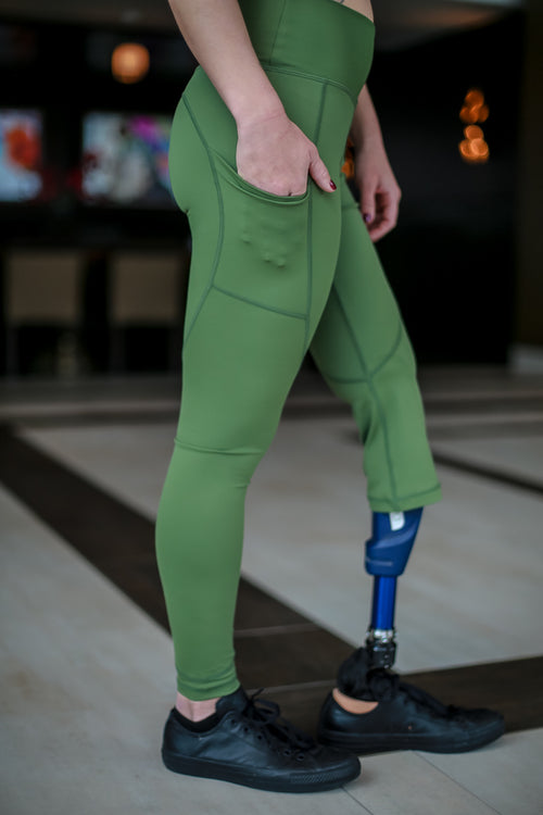 Amputee - LEFT Leg Below the knee, Military Green Leggings with pockets