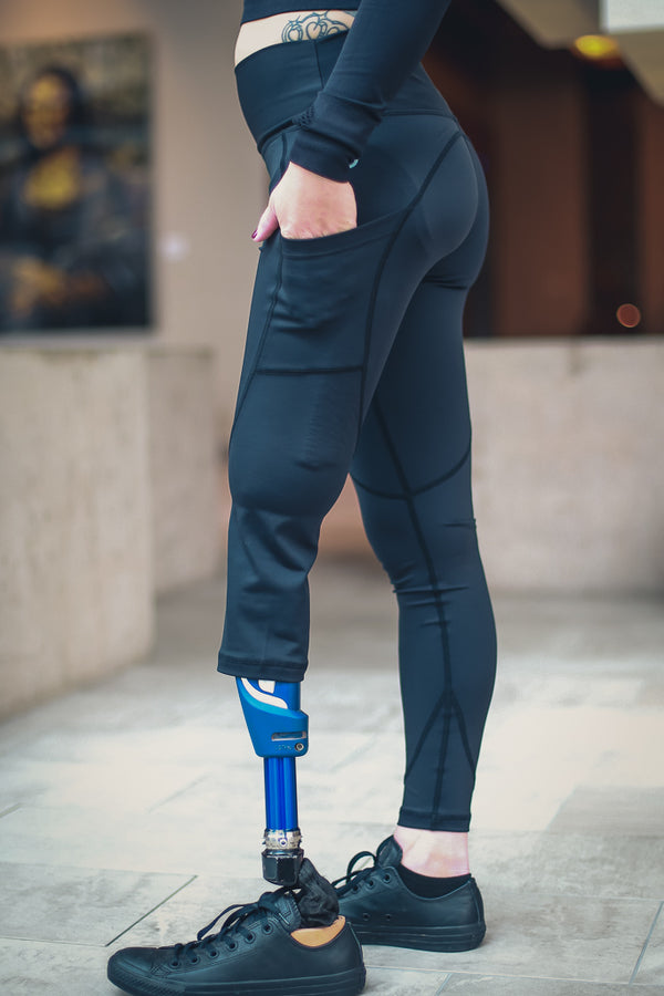 Amputee - RIGHT Leg Below the knee, Black Leggings with pockets