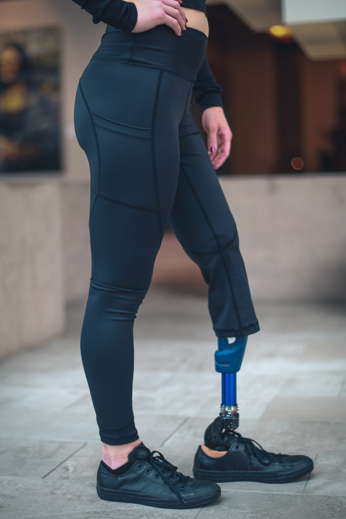 Amputee - LEFT Leg Below the knee, Black Leggings with pockets