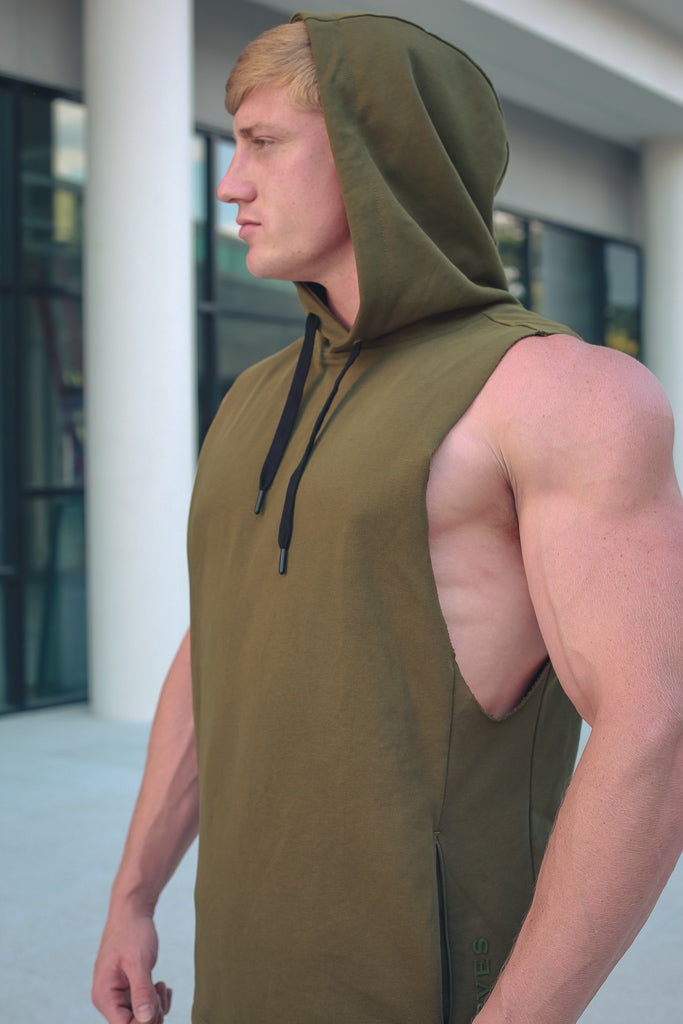 Men's Sleeveless Hoodie w/pockets - Military Green