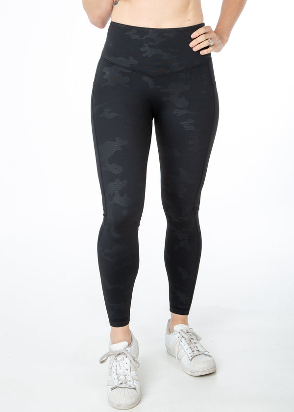 Embossed Camo, Black, V4 leggings with pockets