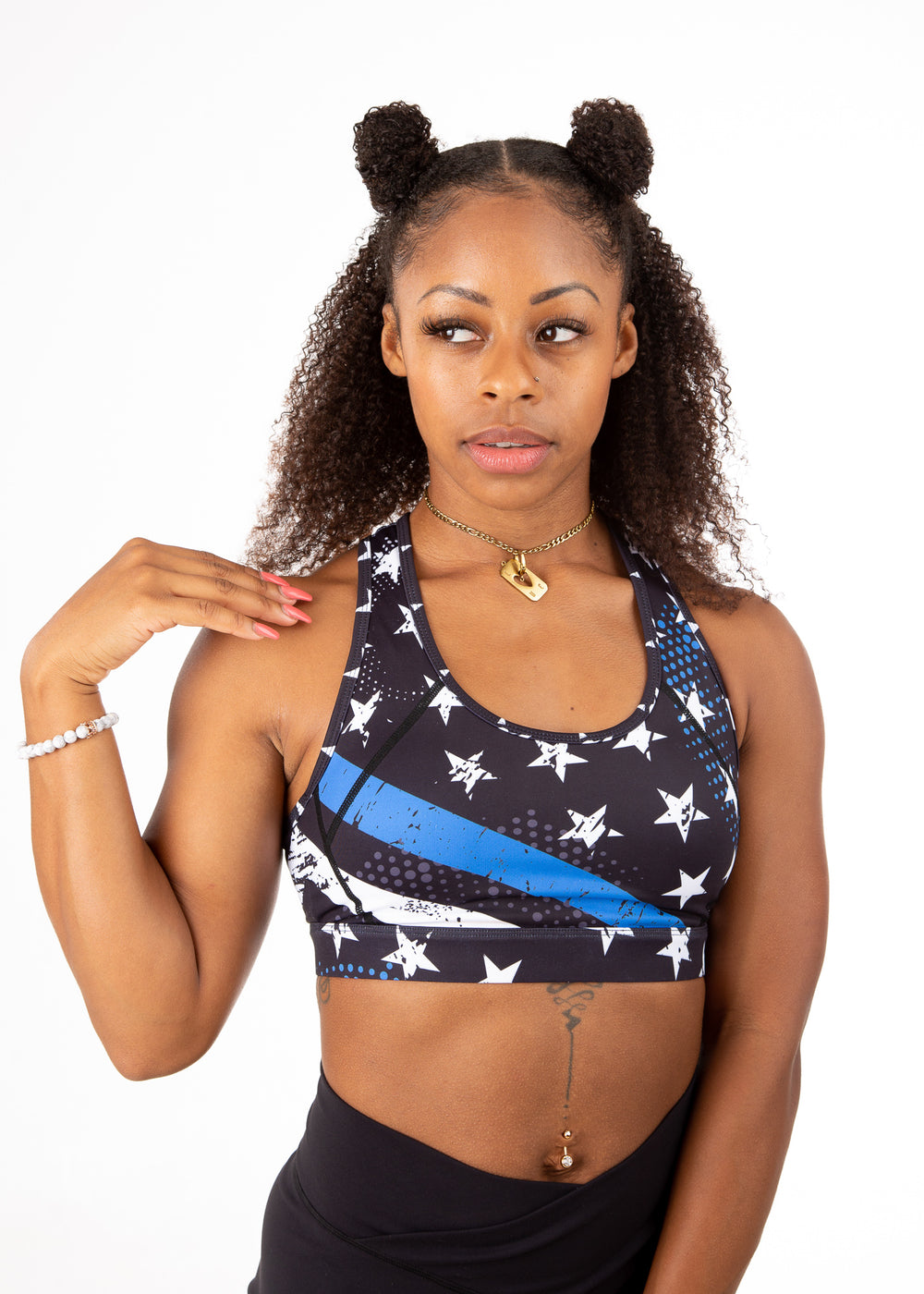 Empowered Laced back Sports bra - Blue Line