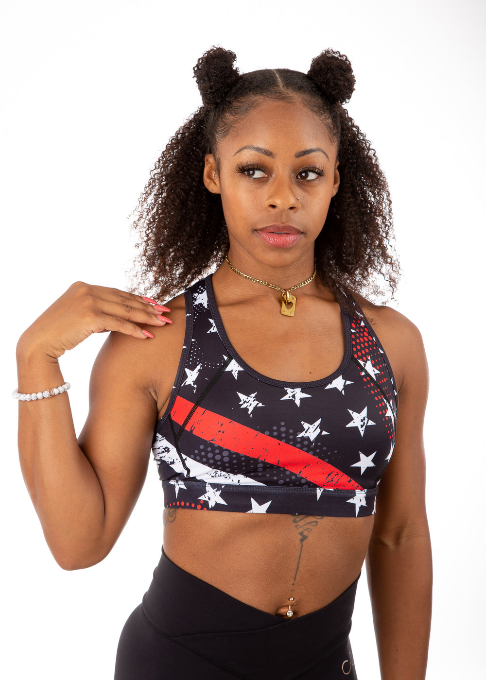 Empowered Laced back Sports bra - Red Line