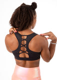Empowered Laced back Sports bra w/hole - Black