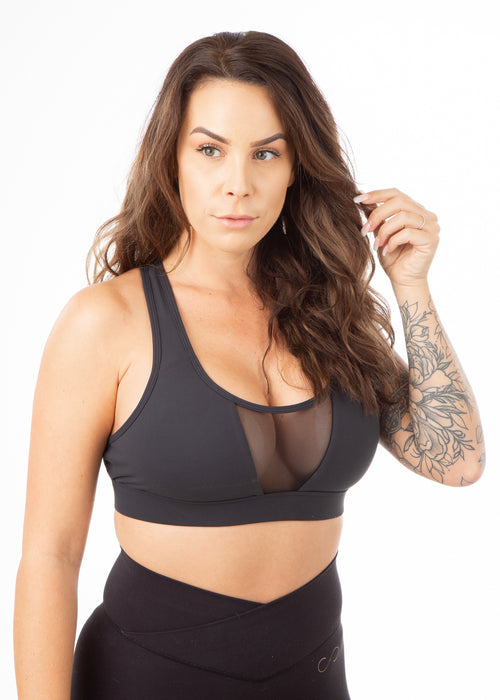 Regal Mesh Front Sports Bra - Black