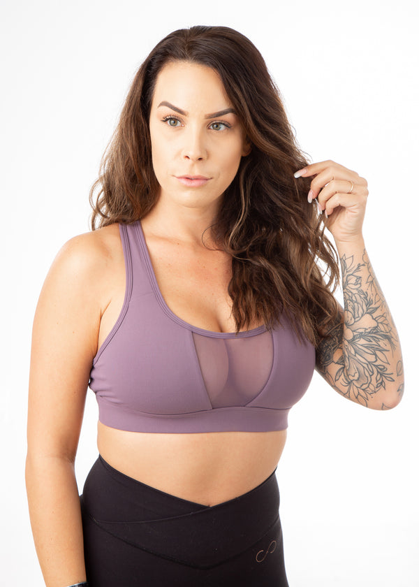 Regal Mesh Front Sports Bra - Crushed Grape