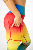 7/8 length, high waisted V3 rainbow leggings from CNC.