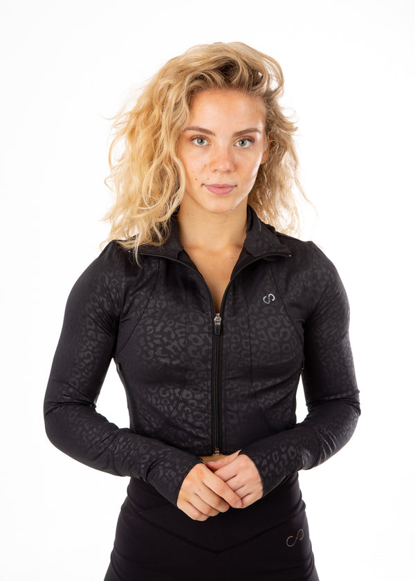 Crop Lightweight Jacket - Leopard Embossed