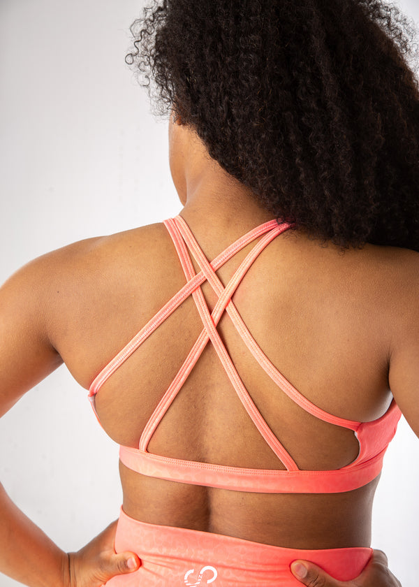 Empowered Summer Strappy Bra - Coral Leopard Embossed