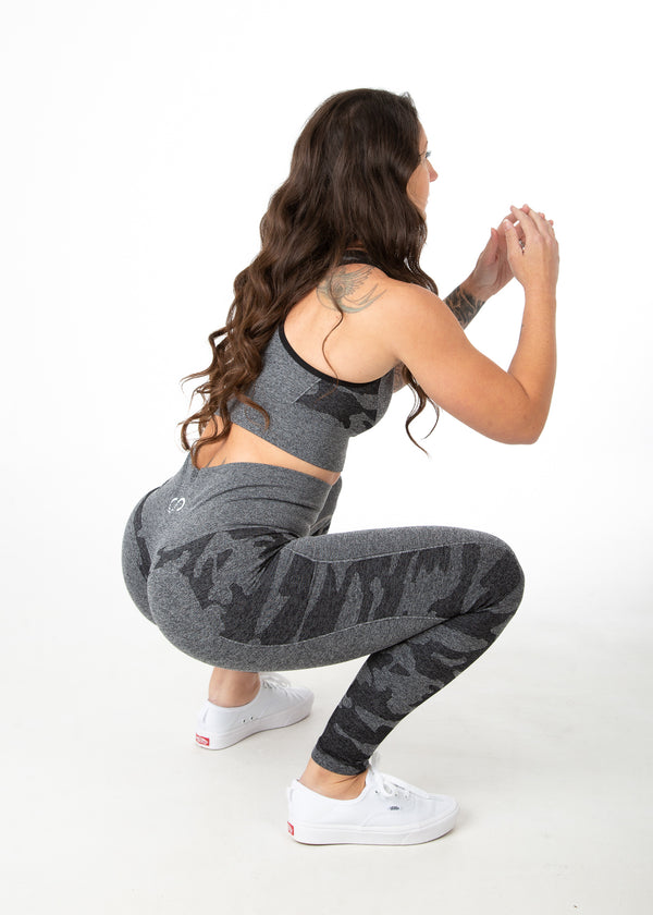 Seamless Camo Leggings w/Booty Scrunch - Gray