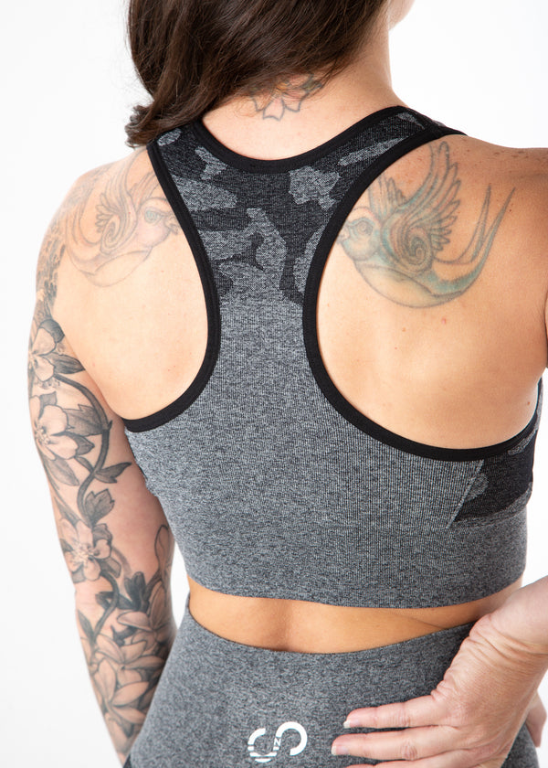 Seamless Camo Sports Bra, Gray