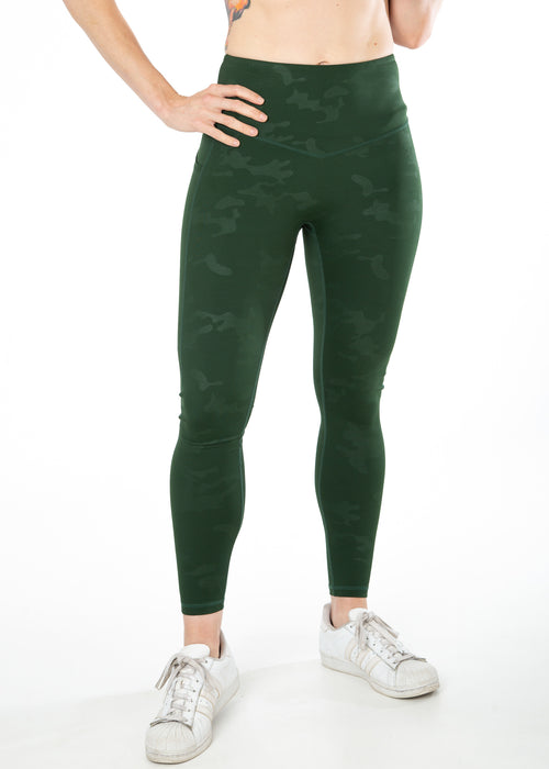 Embossed Camo, Green, V4 leggings with pockets