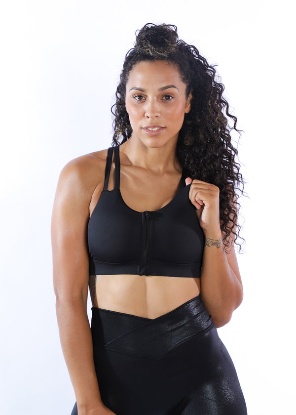Empowered Zip Front bra - Black