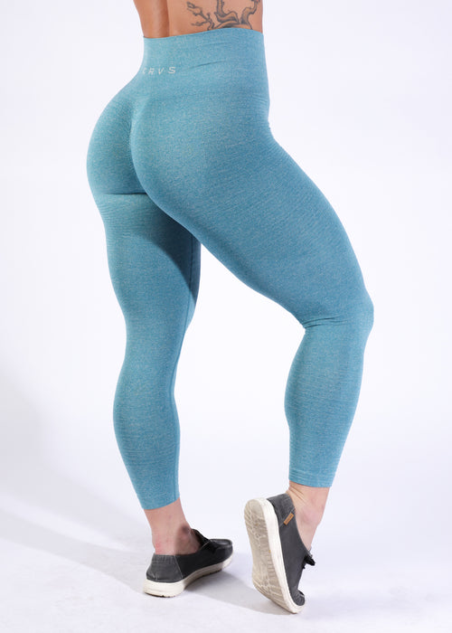 Seamless w/booty scrunch - Heather Teal