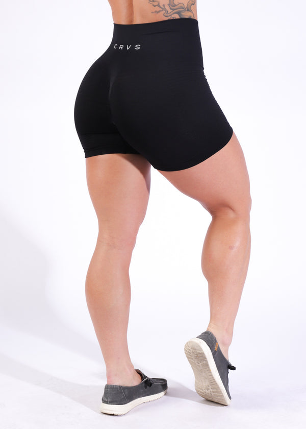 Seamless Shorts w/booty scrunch - Little Black