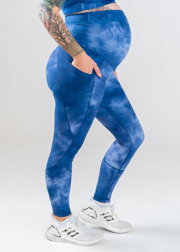 Glow Maternity Leggings with pockets - Blue Tie-dye