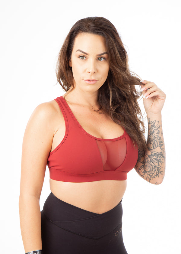 Regal Mesh Front Sports Bra - Deep Red