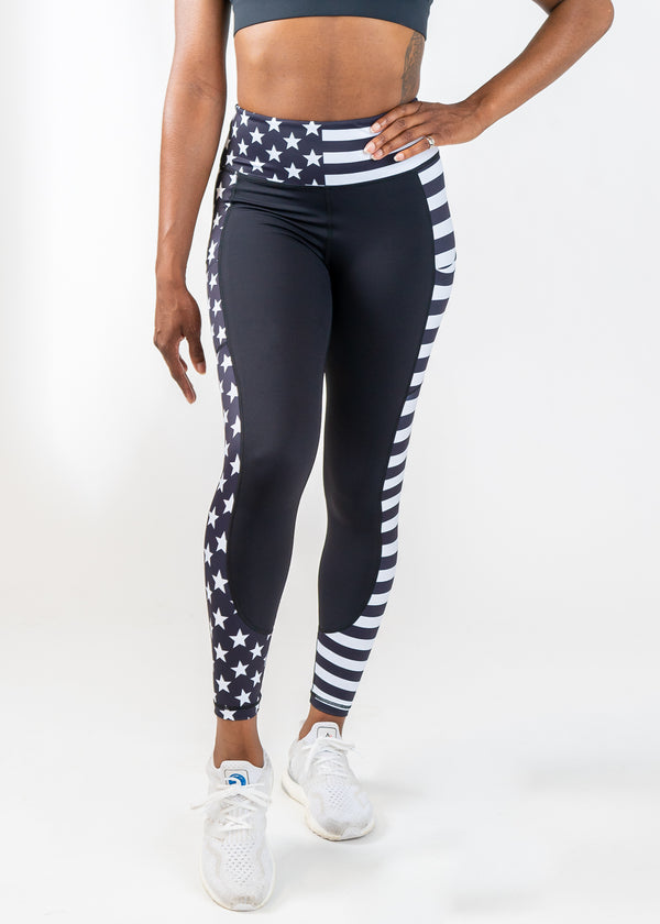 Black & White Stars and stripes 7/8 Leggings with pockets