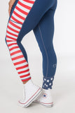 """Red, White, and Badass"" Stars and stripes 7/8 Leggings with pockets"