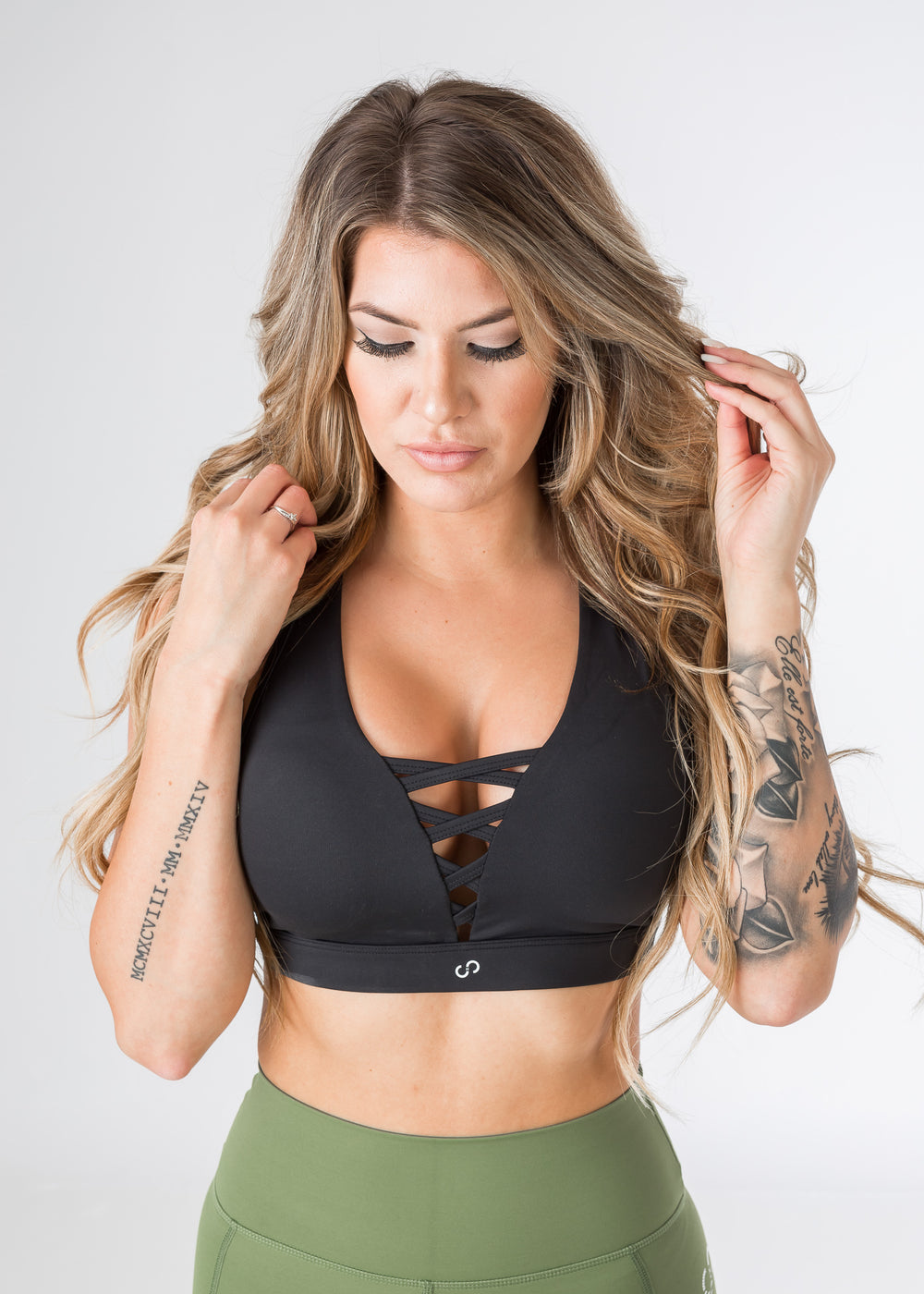 Empowered Laced front Sports bra - Little Black