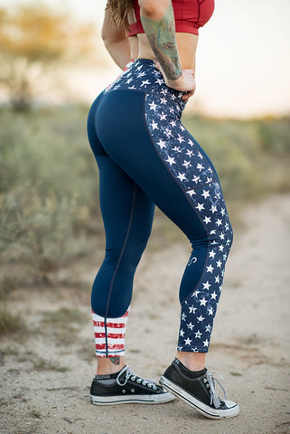 """Stars & Stripes"" Red, White, & Blue Full length with pockets"