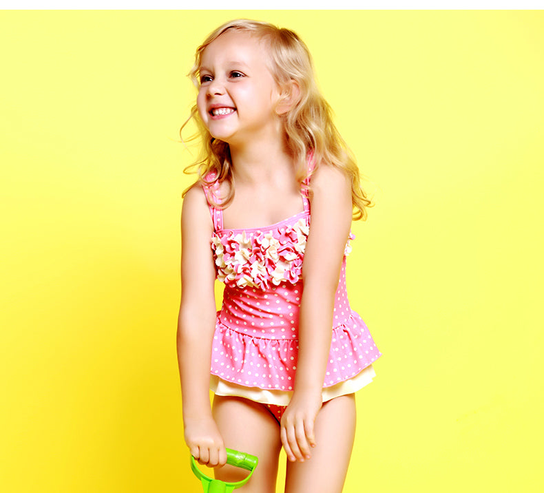 63f028ae331fc Children Swimwear One Piece Cute Floral Dot Girl s Bathing Suit – Go ...