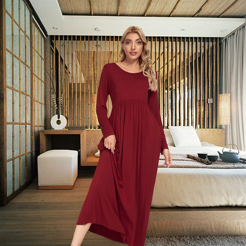 LOLLO VITA Women's Long Sleeve Nightgown Full Length Sleepwear Comfy Bamboo Pajamas Pleated Round Neck Sleepdress
