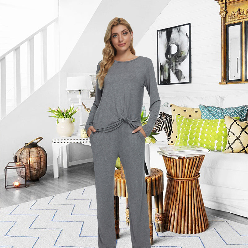 LOLLO VITA Women's Casual Twist Knot Tunics Tops Long Sleeve Solid T Shirts and Pants 2 Pieces Thermal Pajamas Sets