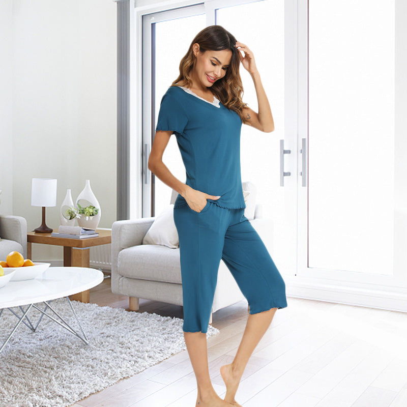 LOLLO VITA Women's Short Sleeve Tops and Capri Pants Pajamas Sets V-Neck Lace Trim Sleepwear Pj Lounge Set with Pockets