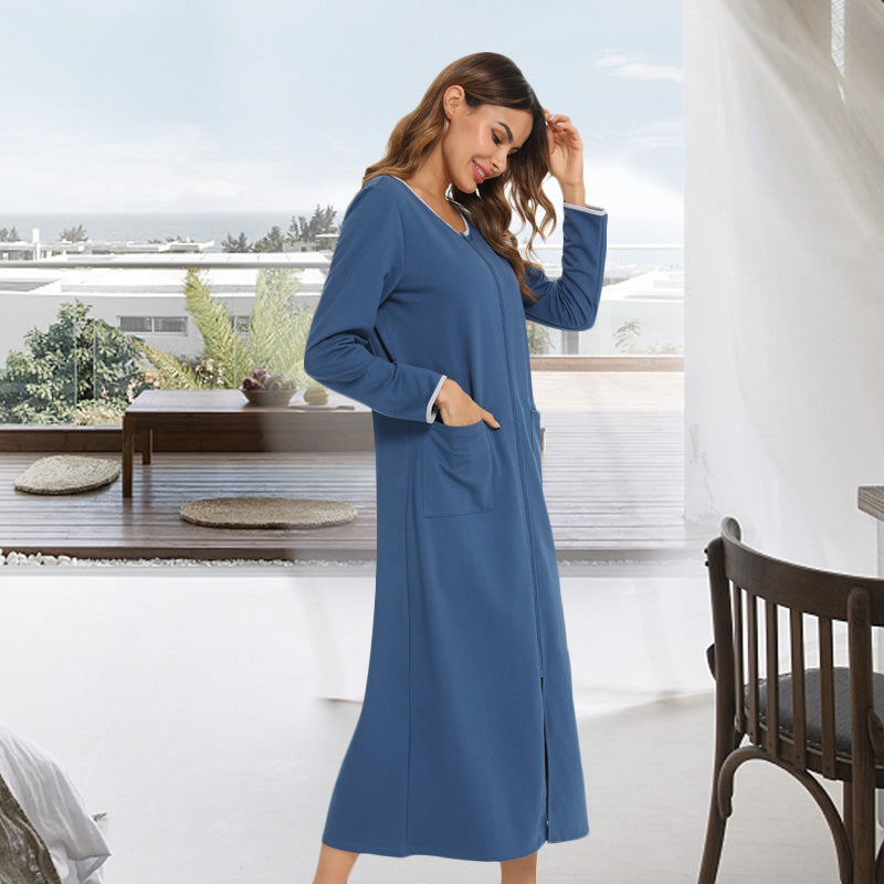 LOLLO VITA Women Zipper Front Robe Long Sleeve Full Length Nightgown House Dresses for Women with Pockets