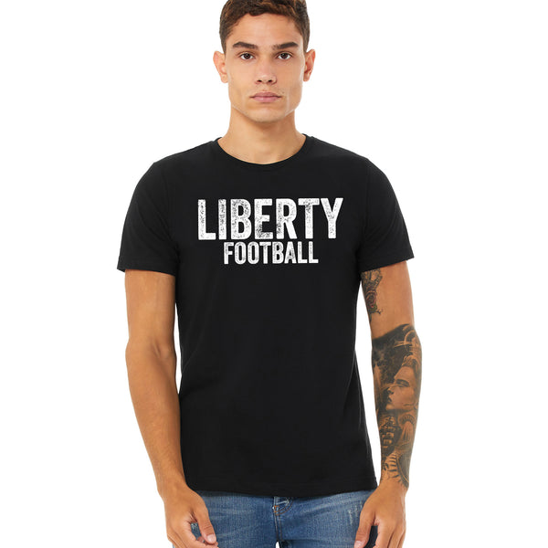 Support the Liberty Lions in this distressed logo tee. Football fan gear for the whole family. Check out Jamesleedean.com for more options for your players team.