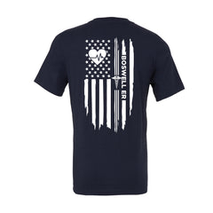 Boswell ER heartbeat flag tee on a soft navy blue unisex crewneck tee. Boswell ED Tee. Located in Arizona.
