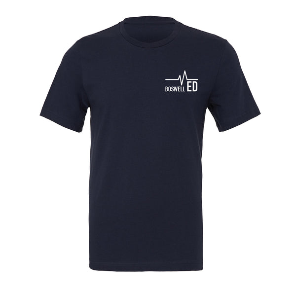 Boswell ER heartbeat flag tee on a soft navy blue unisex crewneck tee. Boswell ED Tee. Located in Arizona.  Edit alt text