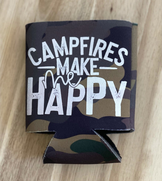 Campfires make me happy Koozie