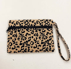 Leopard Canvas Clutch/Wristlet