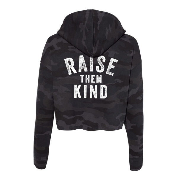 Raise Them Kind Cropped Camo Hoodie