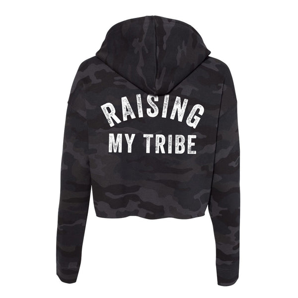 Raising My Tribe Cropped Camo Hoodie