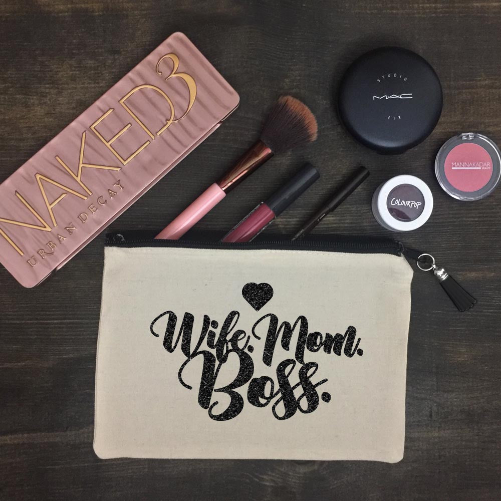 Wife. Mom. Boss. Makeup Bag