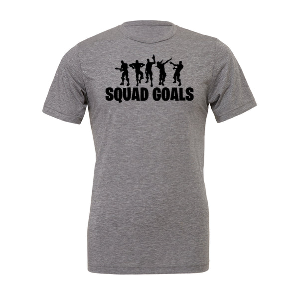 Squad Goals Tee. Show off your love for Fortnite battle royal with these customizable tees. Whether your favorite Fortnite move is Flossin or Breakin we have you covered! Choose your tee color, size, art, and your art color to make this epic tee yours today.