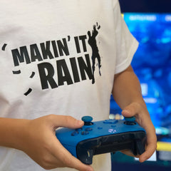 Making it rain tee. Show off your love for Fortnite battle royal with these customizable tees. Whether your favorite Fortnite move is Flossin or Breakin we have you covered! Choose your tee color, size, art, and your art color to make this epic tee yours today.