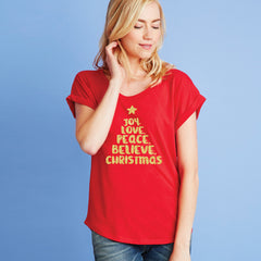 Joy Love Peace Believe Christmas Dolman Tee