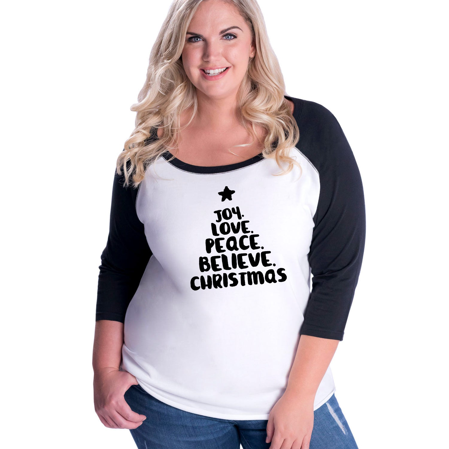 Joy Love Peace Believe Christmas Curvy Baseball Tee