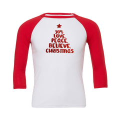 Joy Love Peace Believe Christmas Baseball Tee