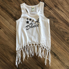 LA Dance white fringe tank top