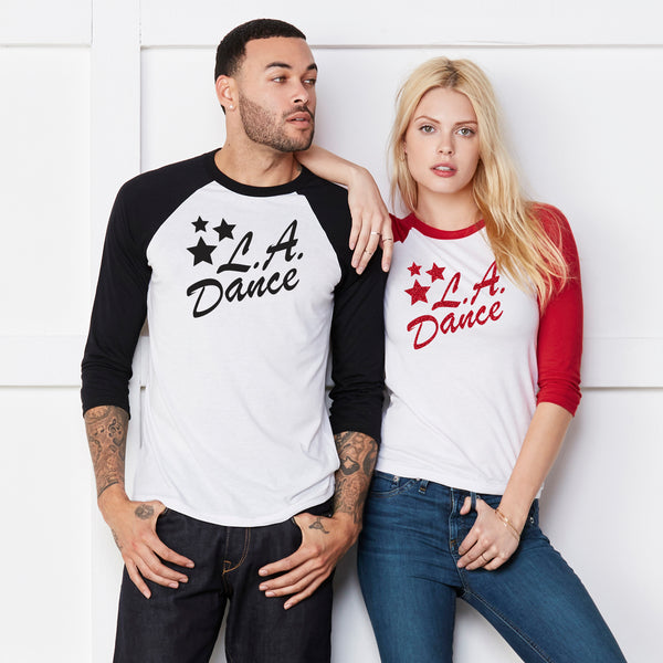LA Dance Fan gear. Baseball Tee with LA Dance logo.