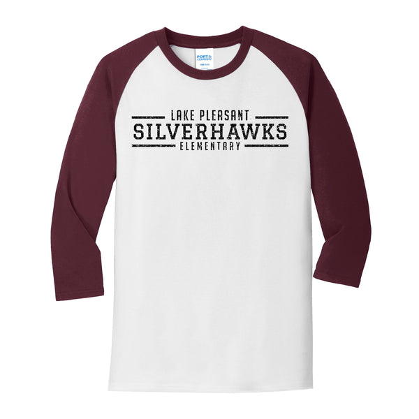 Youth Maroon and White Core Blend 3/4-Sleeve Raglan Tee (7 different design options)